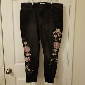 Lane Bryant Embroidered Black Jeans